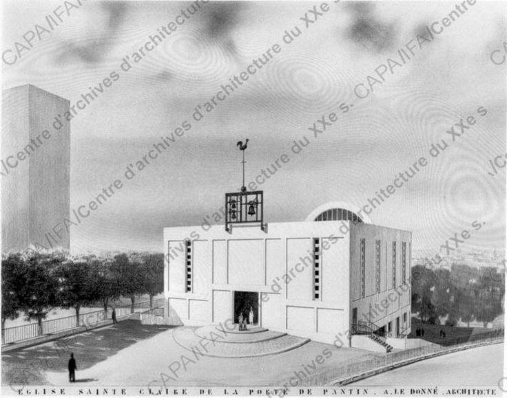 Le Donné, André (1899-1983): 1954-1967. Eglise Sainte-Claire, Porte de Pantin, Paris : vue d'une pers. d'ensemble (cliché Chevojon). (Objet LEDAN-B-54-3. Doc. AR-31-08-09-19).
