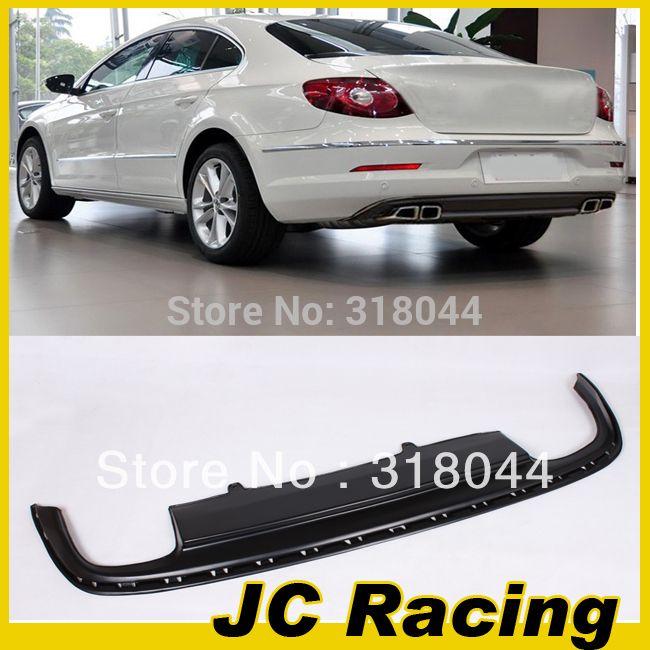 ПУ Матовый черный цвет заднего бампера для губ диффузор Для VW Passat CC 2008-2012