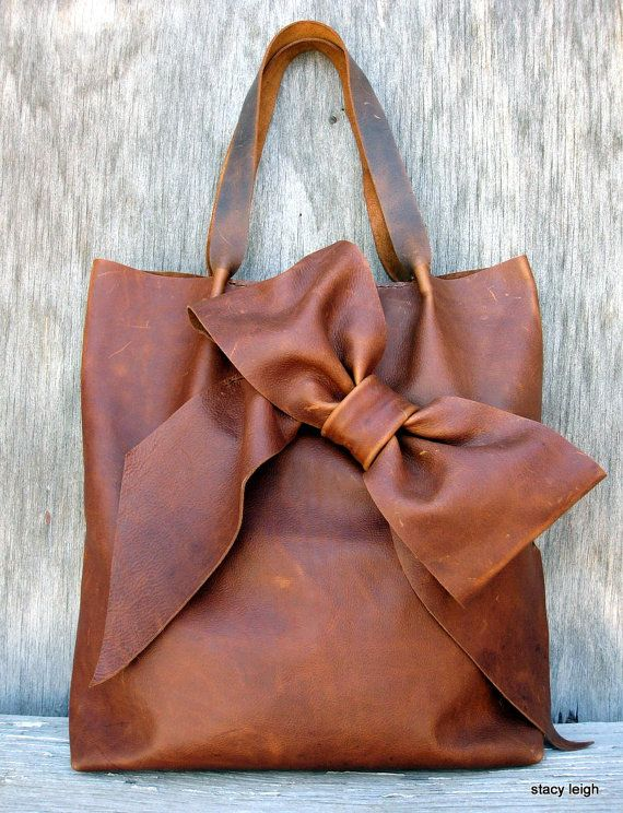 Distressed Brown Leather Bow Tote Bag-so cute!