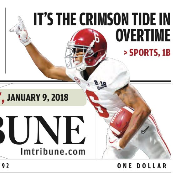 Front page of The Lewiston Tribune, following Bama's 26-23 OT win in the College Football Playoff National Championship at Mercedes-Benz Stadium in Atlanta, 2018 National Champions! #Alabama #RollTide #Bama #BuiltByBama #RTR #CrimsonTide #RammerJammer #CFBPlayoff #NationalChampionship #CFBNationalChampionship2018