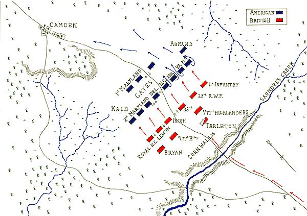 Map of the  Battle of Camden 16th August 1780