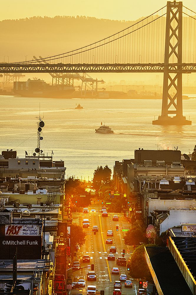 •High Angle View Of Broadway With Bay Bridge and The Port of Oakland In Thew Background at Sunrise, San Francisco By Mitchell Funk www.mitchellfunk.com