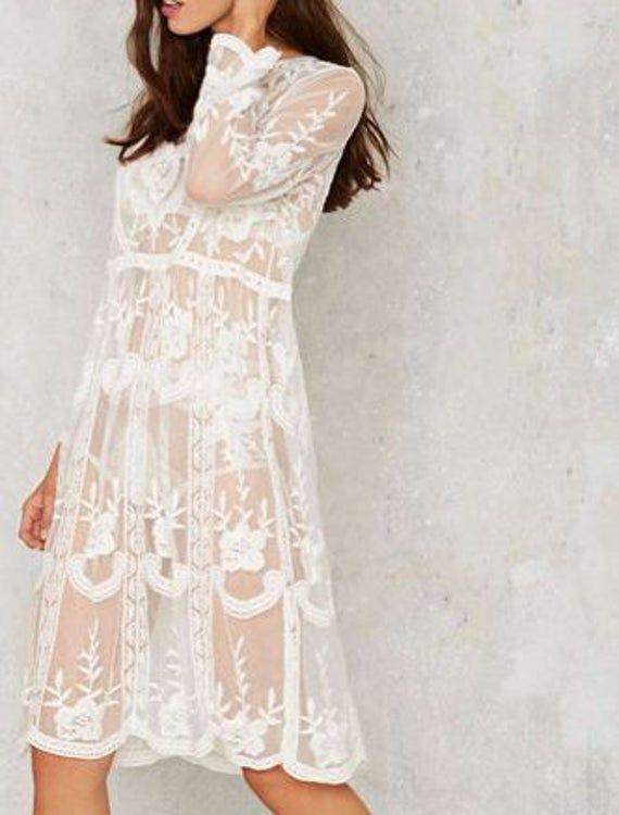 Soft Luxury Lace Boho Slip On Beach Dress Etsy In 2020 White Lace Long Sleeve Dress Lace White Dress Lace Beach Dress