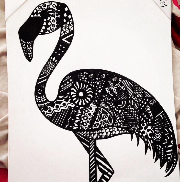 Zentangle art - Flamingo (Made with Black posca pen)  #PLKdesign