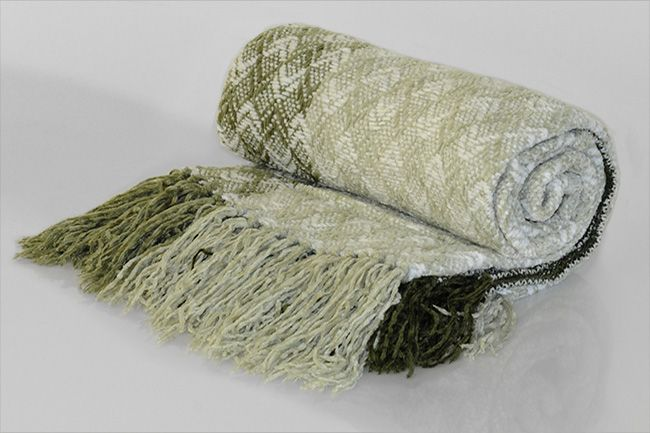Chenille Throw with frill diamond green