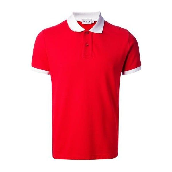 moncler-polo-shirt.jpg (392×523) ❤ liked on Polyvore featuring tops, polo shirts, red top and red polo shirt