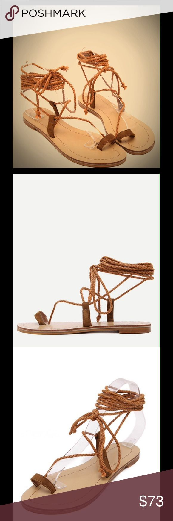 Boho Lace Up Sandal Adorable nautical sandals with toe ring design! Not fp Free People Shoes Sandals