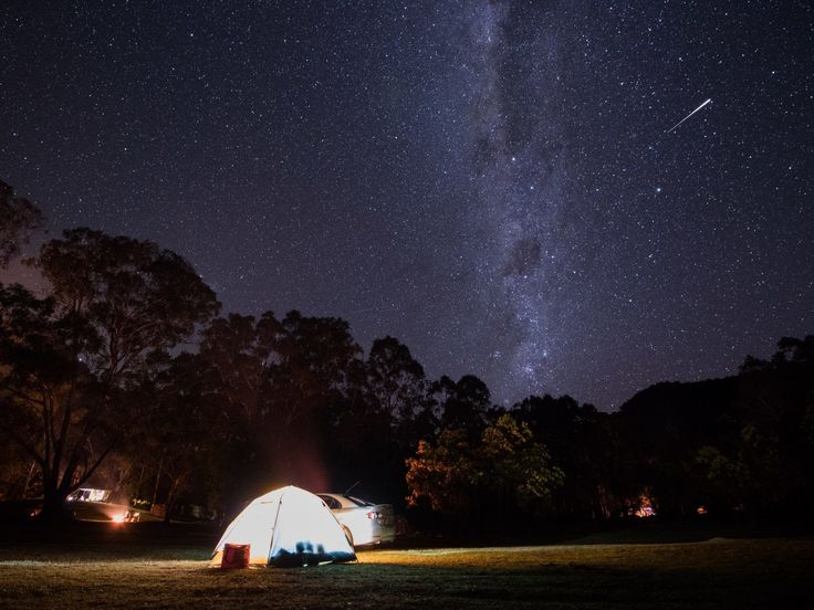 Camping under a starry night in the National Park