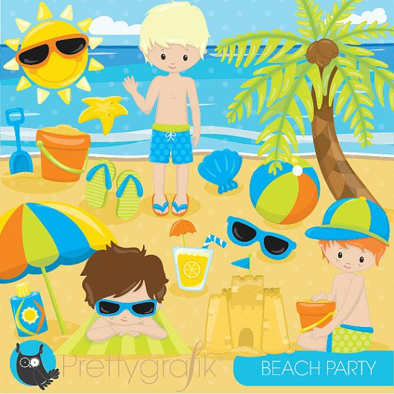 80% OFF SALE Beach party clipart commercial by Prettygrafikdesign