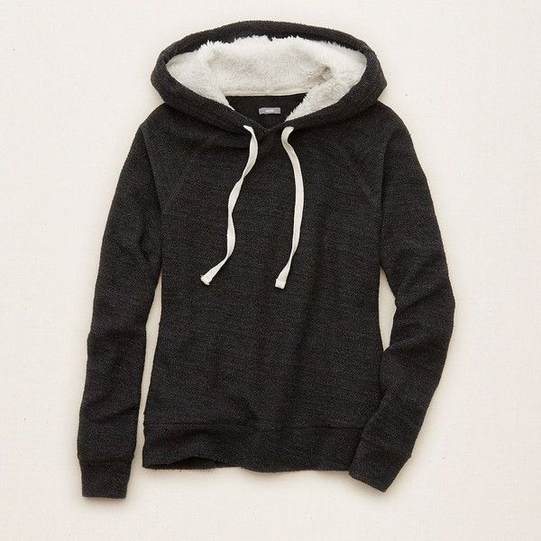 Aerie Cozy Popover Hoodie (€34) ❤ liked on Polyvore featuring tops, hoodies, true black, aerie top, black hoodies, hooded sweatshirt, hooded pullover and black hoodie