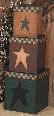 Primitive Country Black Star Folk Art Nesting Stacking Boxes Burgundy Mustard   eBay