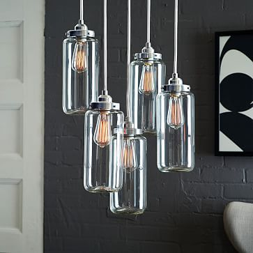 I want this so badly for the dining room!!! On sale now at West Elm  $250 5-Jar Glass Chandelier - Brushed Nickel #westelm