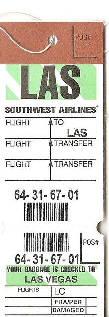 Southwest Airlines baggage tag, LAS