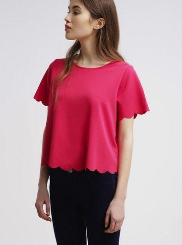 New Look SCALLOP Tshirt basic fuchsia różowa bluzka z uroczym wykończeniem