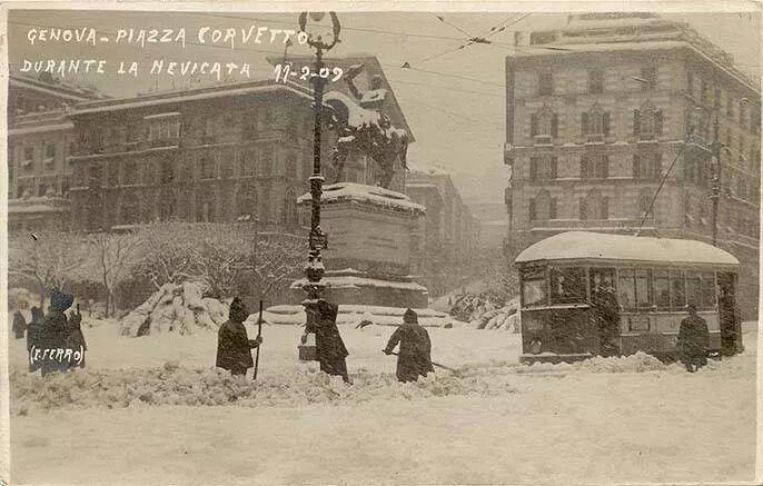 Nevica. Genova. 1909