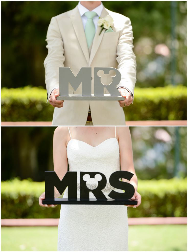 Mickey Mouse inspired Mr. and Mrs. signs at Disney's Fairy Tale Weddings & Honeymoons