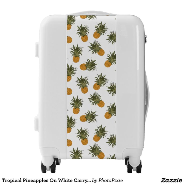 Tropical Pineapples On White Carry On Luggage