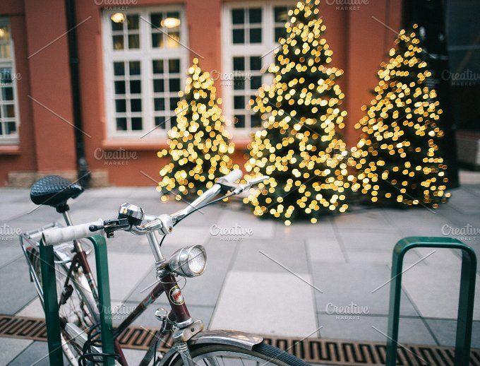 Bicycle handlebars with bokeh lights by Borishots on @creativemarket