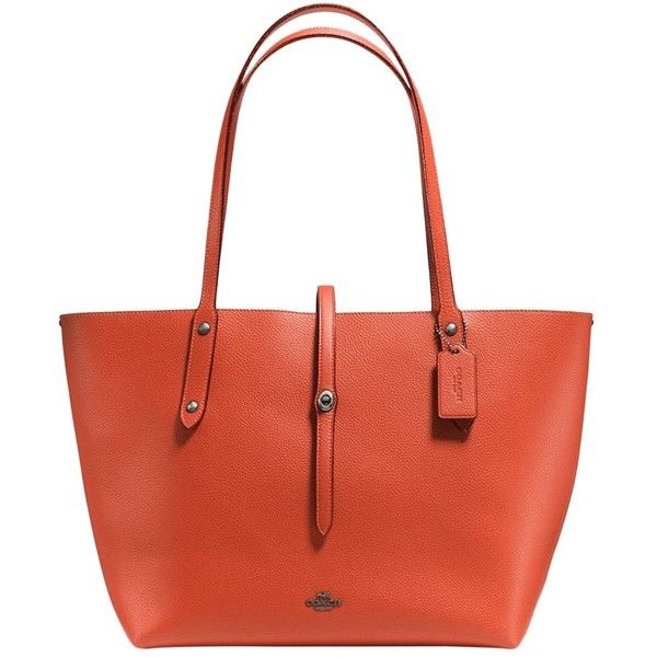 Coach Market Leather Tote Bag (€335) ❤ liked on Polyvore featuring bags, handbags, tote bags, dark vermilion, handbags totes, leather hand bags, red hand bags, coach tote bags and coach tote
