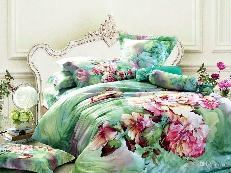 green floral bedding comforter set sets queen king size duvet cover bedspread sheets bed in a