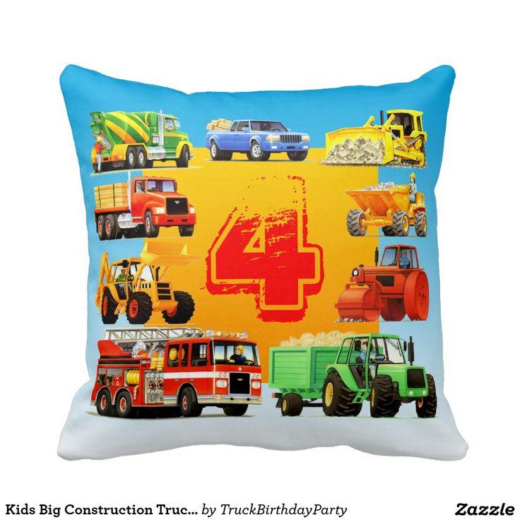 Kids Big Construction Truck 4th Birthday Pillow