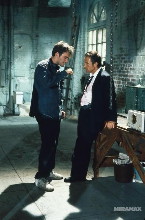 Tarantino and Keitel on the set of Reservoir Dogs (1994)