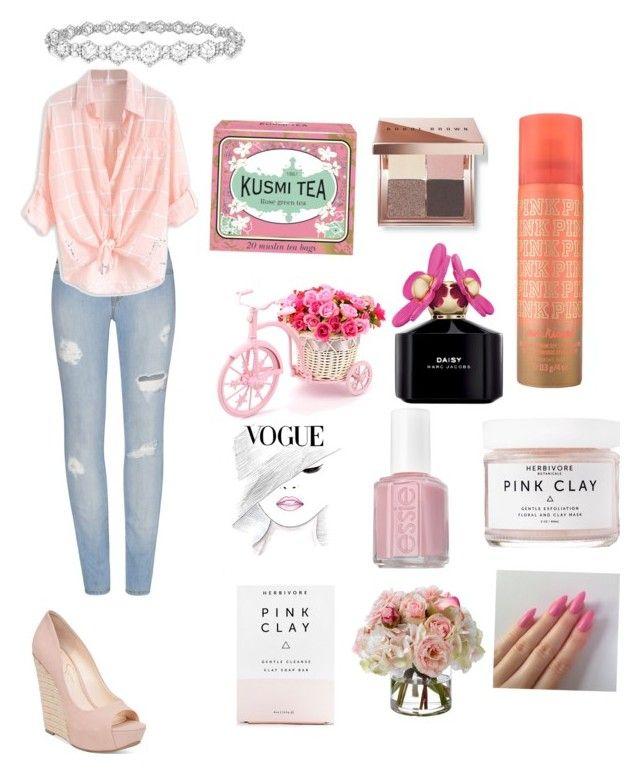 """Pink"" by raque-santacruzv on Polyvore featuring moda, Kusmi Tea, Bobbi Brown Cosmetics, Marc Jacobs, Essie, Herbivore Botanicals, Diane James, Jessica Simpson y Epoque"