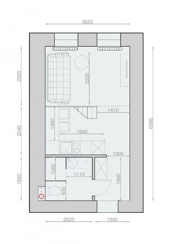 17 best images about plan on pinterest square meter one bedroom and small apartments - Penthouse ac du square one studio ...