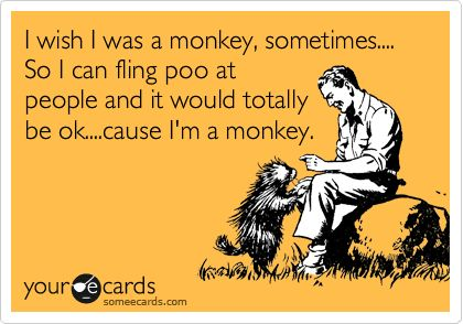 I wish I was a monkey, sometimes.... So I can fling poo at people and it would totally be ok....cause I'm a monkey.Funnyness But, Ohhh Yeah, Hee Hee, So Funny