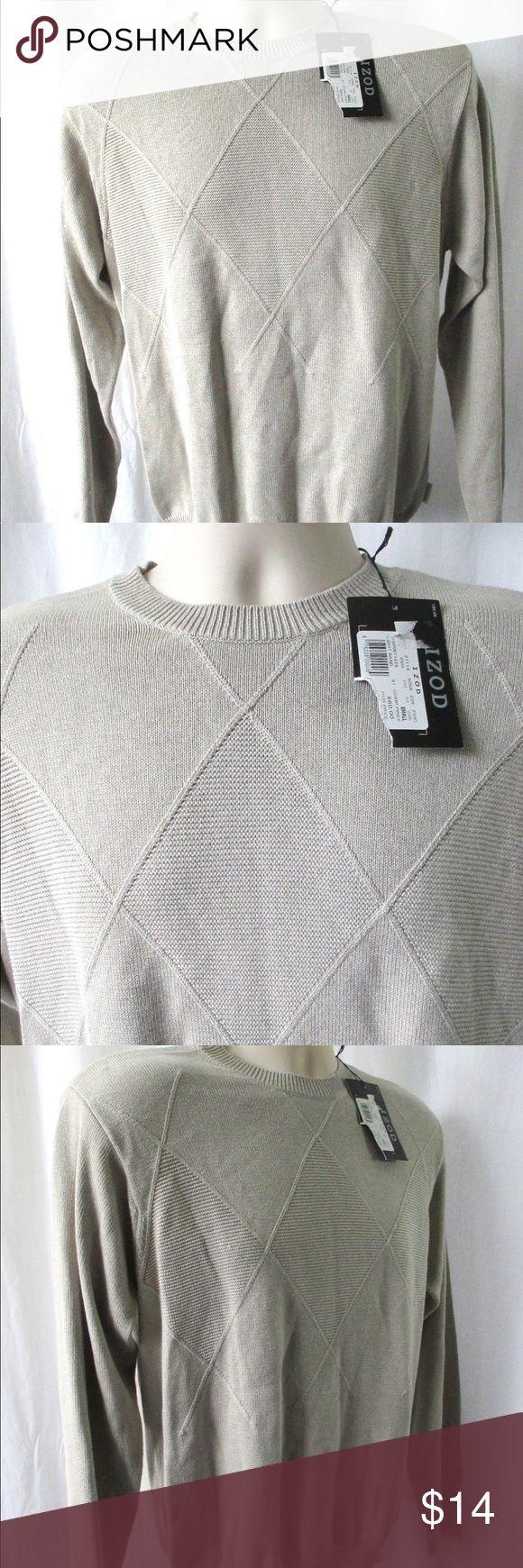 "Izod Men's Sweater Sz S Diamond Pattern Beige NEW IZOD SWEATER Size Small ""Lig…"