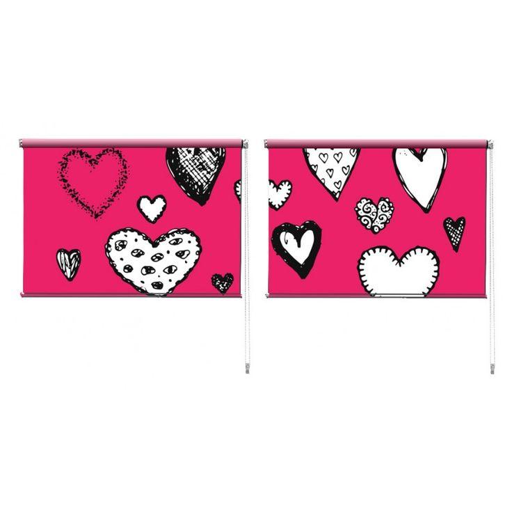Duo rolgordijn Getekende hartjes | De duo rolgordijnen van YouPri zijn iets heel bijzonders! Maak keuze uit een verduisterend of een lichtdoorlatend rolgordijn. Inclusief ophangmechanisme voor wand of plafond! #rolgordijn #gordijn #lichtdoorlatend #verduisterend #goedkoop #voordelig #polyester #duo #twee #hartjes #harten #romantisch #liefde #romantiek #roze #meisjeskamer #meisje