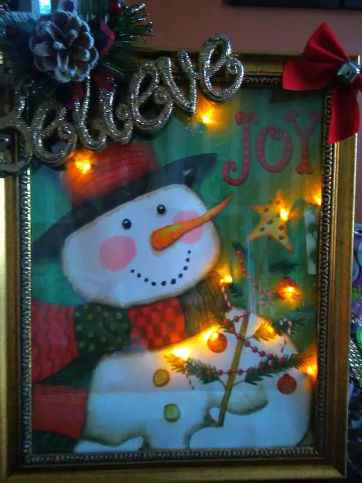 My Lighted Christmas Frame - Made from a gift bag and supplies from