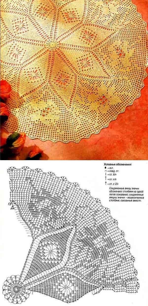 Салфетка с ромбами и розами | Салфетки, связанные крючком