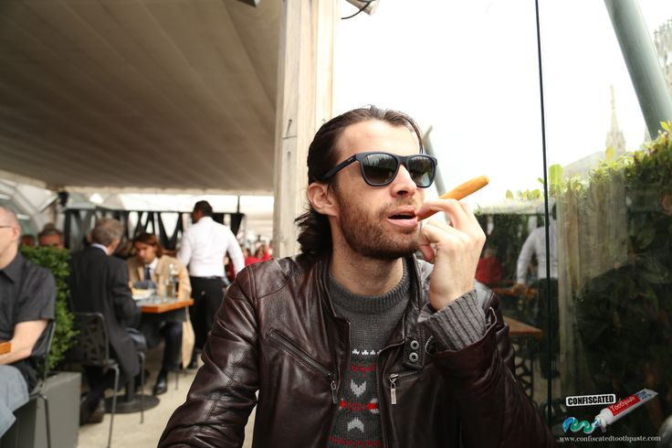 I hope the cool cats in Milan don't notice that the cigar I'm smoking is actually a breadstick.. A Roadtrip through the Swiss Alps from Paris to Italy --> http://www.confiscatedtoothpaste.com/a-roadtrip-through-the-swiss-alps-from-paris-to-italy/