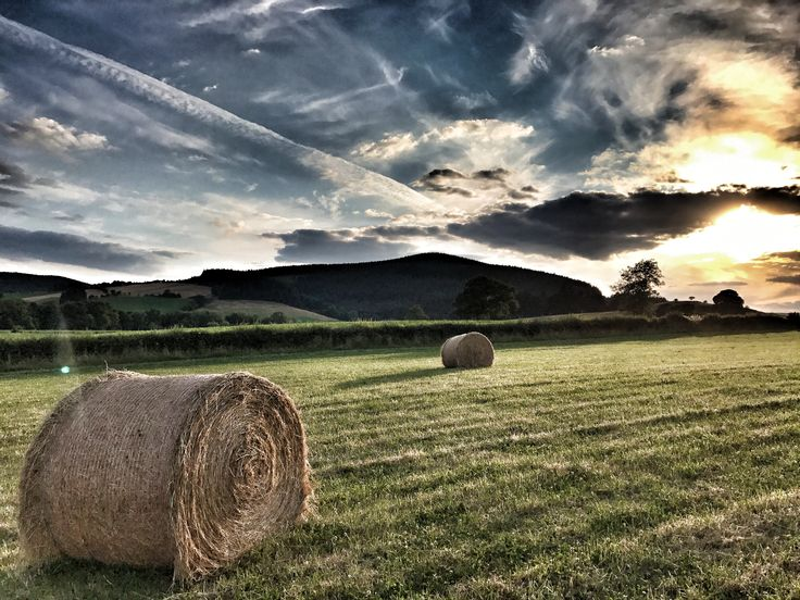 July hay bales and moody skies - Shropshire English Landscape