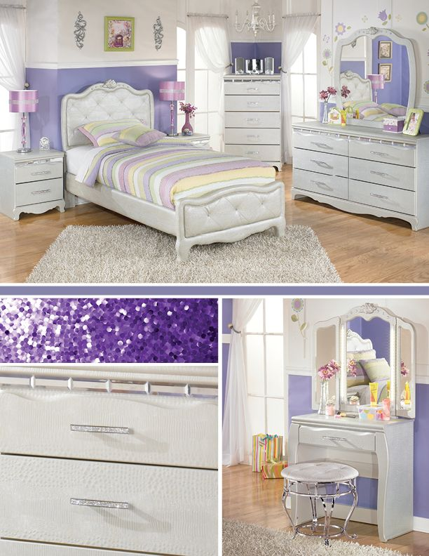 So pretty!Ashley Furniture Beds, Ashley Furniture Bedroom Kids, Bedrooms Sets, Bedroom Sets, Girls Room, Little Girl Rooms, Glam Vanities, Final Finding, Bedrooms Ideas