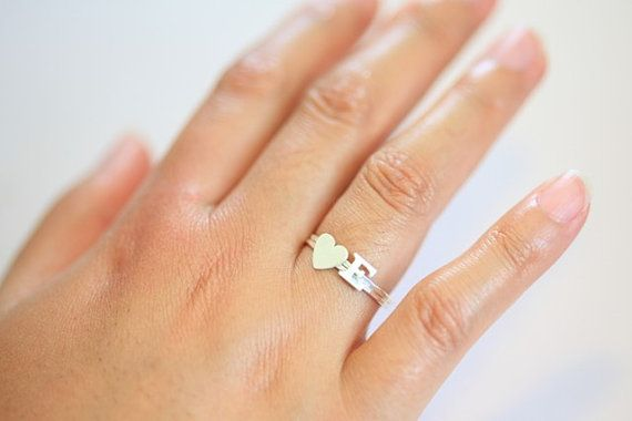 personalized stack rings initial ring and heart ring  by moncadeau, $36.00