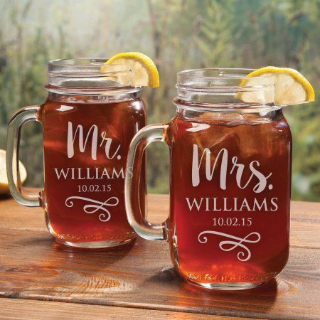 Personalized Mr. & Mrs. Mason Jar Glasses, Set of 2, Clear