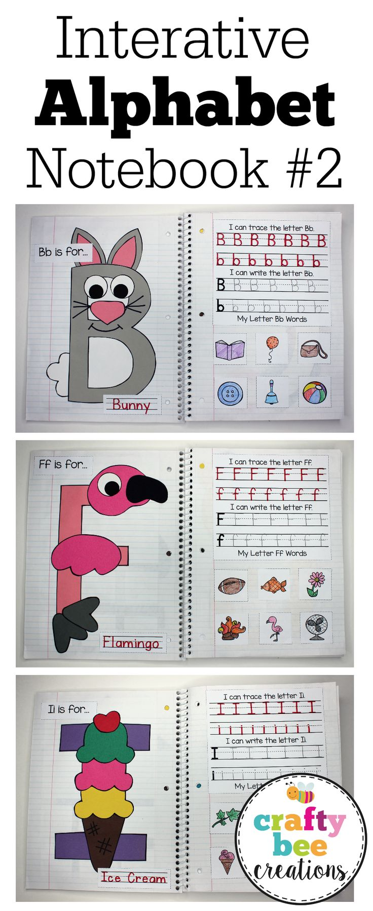 This Interactive Alphabet Notebook is perfect for working on letter recognition and writing with preschool and kindergarten students. The letter crafts also help with the fine motor skills of cutting with scissors and gluing. Includes all 26 letters and promises a ton of fun!