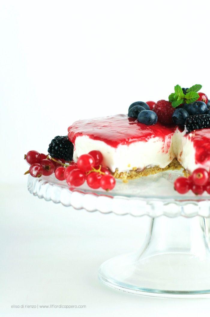 #cheesecake con crema #marshmallow e frutti rossi