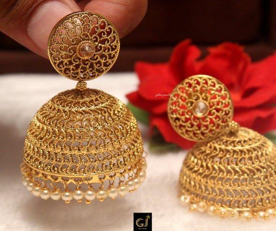 Indian Jhumka Gold Ruby Green Earrings Big Pearl Kundan Style Jadau Bollywood Wedding Bridal Gold Jewellery Designs Gold Earrings Designs Gold Bridal Necklace