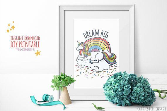 Unicorn Printable Art Dream Big Unicorn Theme Print Teen