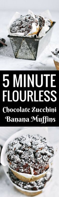 Best healthy flourless banana zucchini muffins. Made in minutes, these easy gluten free breakfast muffins are extra big bakery style and loaded with decadent chocolate and healthy greens. Best gluten free breakfast recipes. Easy paleo diet recipes for beginners. Best gluten free diet desserts. Best paleo muffins. Best gluten free muffins. Easy gluten free muffin recipe. Easy gluten free banana muffin recipe. Flourless banana muffin recipe.