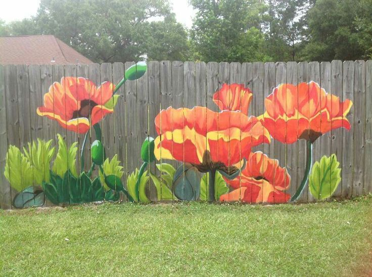 So colourful. Such a lovely way to brighten up a boring fence.