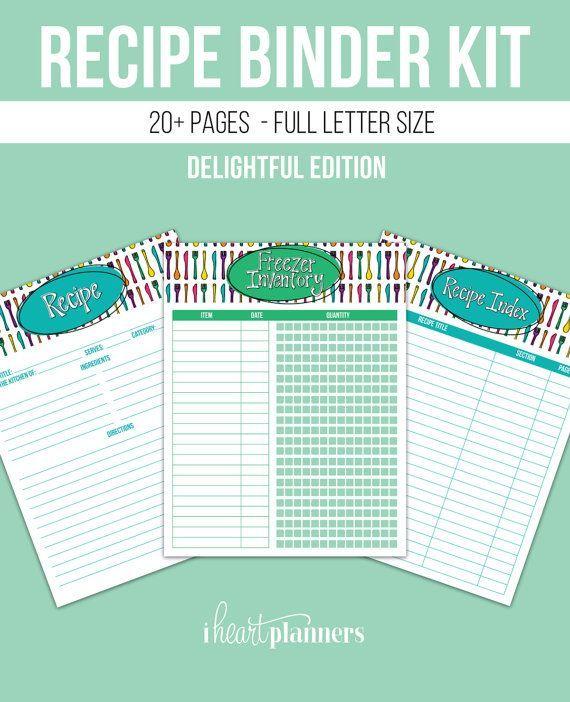 Recipe Binder And Kitchen Printables Kit Full Letter