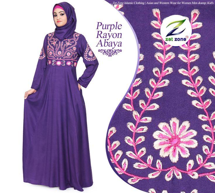 High Quality Purple Rayon Abaya From The House of Zet Zone   Price USD48.99 #Abaya #RayonAbaya #IslamicClothing #MuslimDress #BuyAbayaOnline #TrendyAbaya