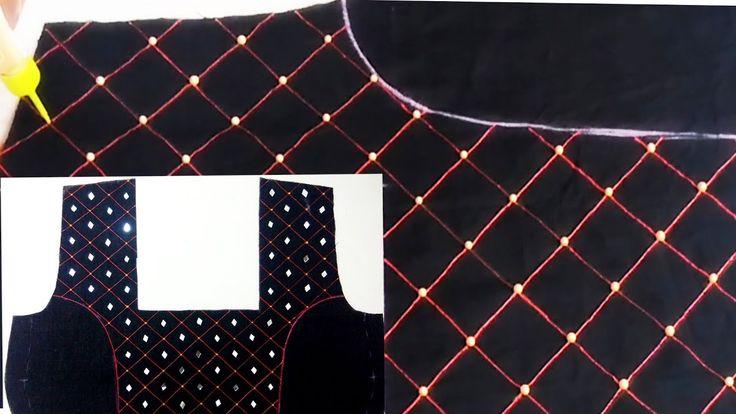 MIRROR & BEADS Work Designer Kurti / Choli Neck Design | Navratri Special - YouTube
