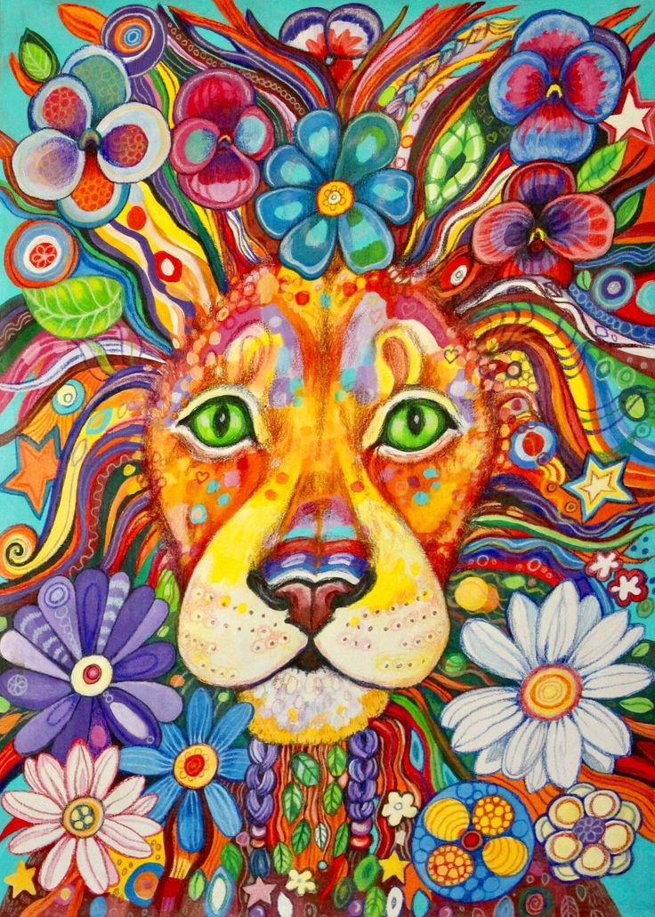 Flower Power Lion - original painting by Frecklepop on Etsy https://www.etsy.com/nz/listing/518294198/flower-power-lion-original-painting