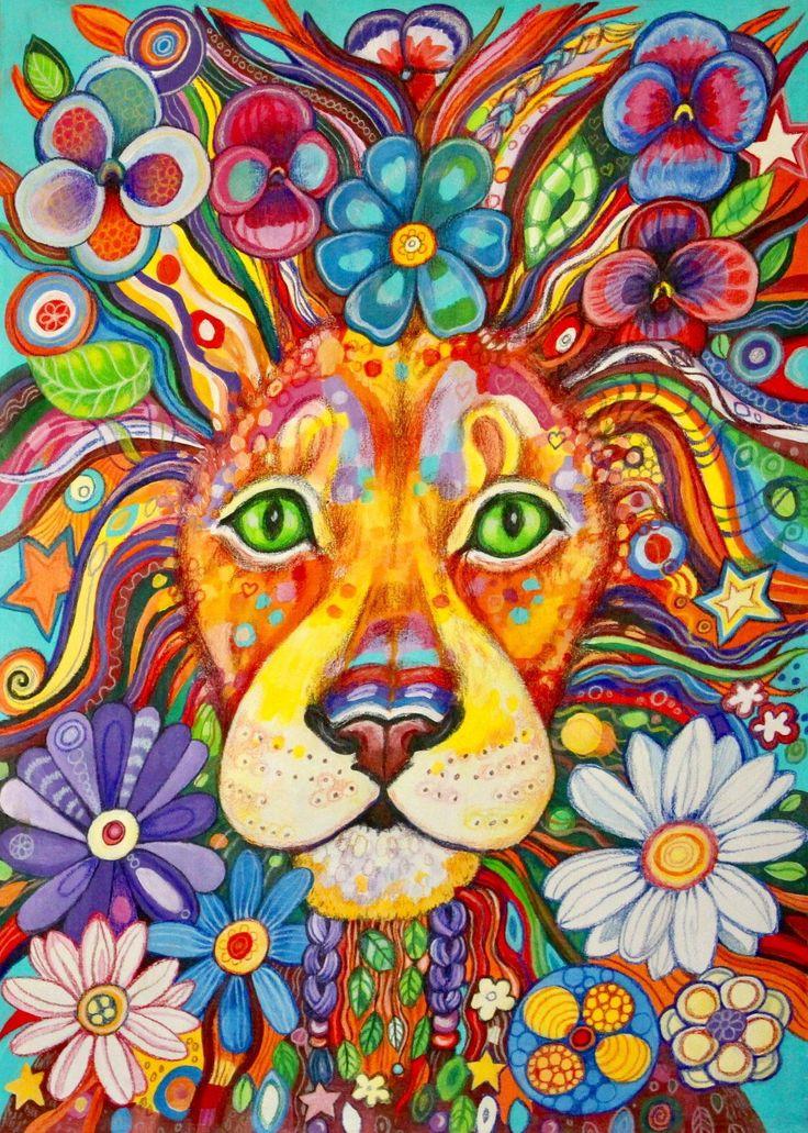 Flower Power Lion - original painting by Frecklepop on Etsy https://www.etsy.com/nz/listing/518294198/flower-power-lion-original-painting