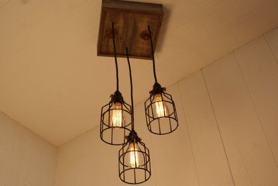 Cage Light Chandelier - Cage Lighting - Industrial Lighting - Edison Bulb - Upcycled Wood